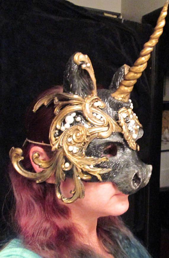 Baroque Unicorn Masquerade Ball Masked Ball Costume Mask Black