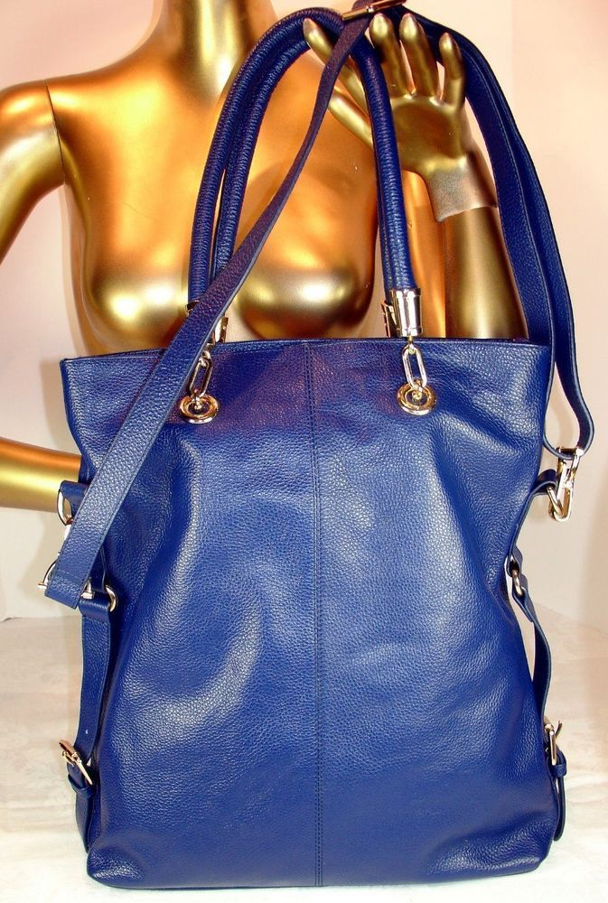Kristen Bell for Erica Anenburg Large Blue Leather Sutton Tote NWOT #EricaAnenberg #TotesShoppers
