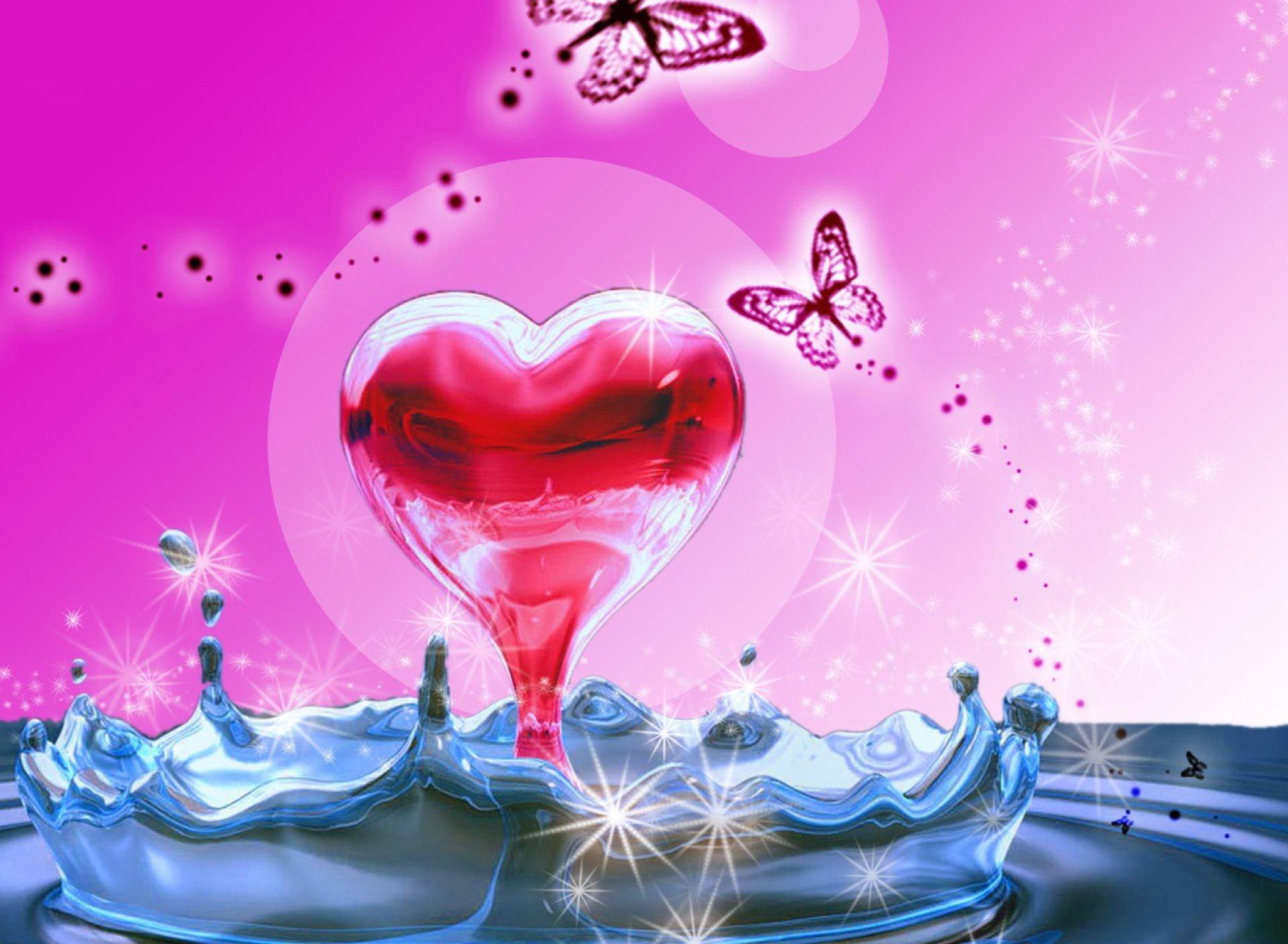 A beautiful combination of a heart butterflies and water ...