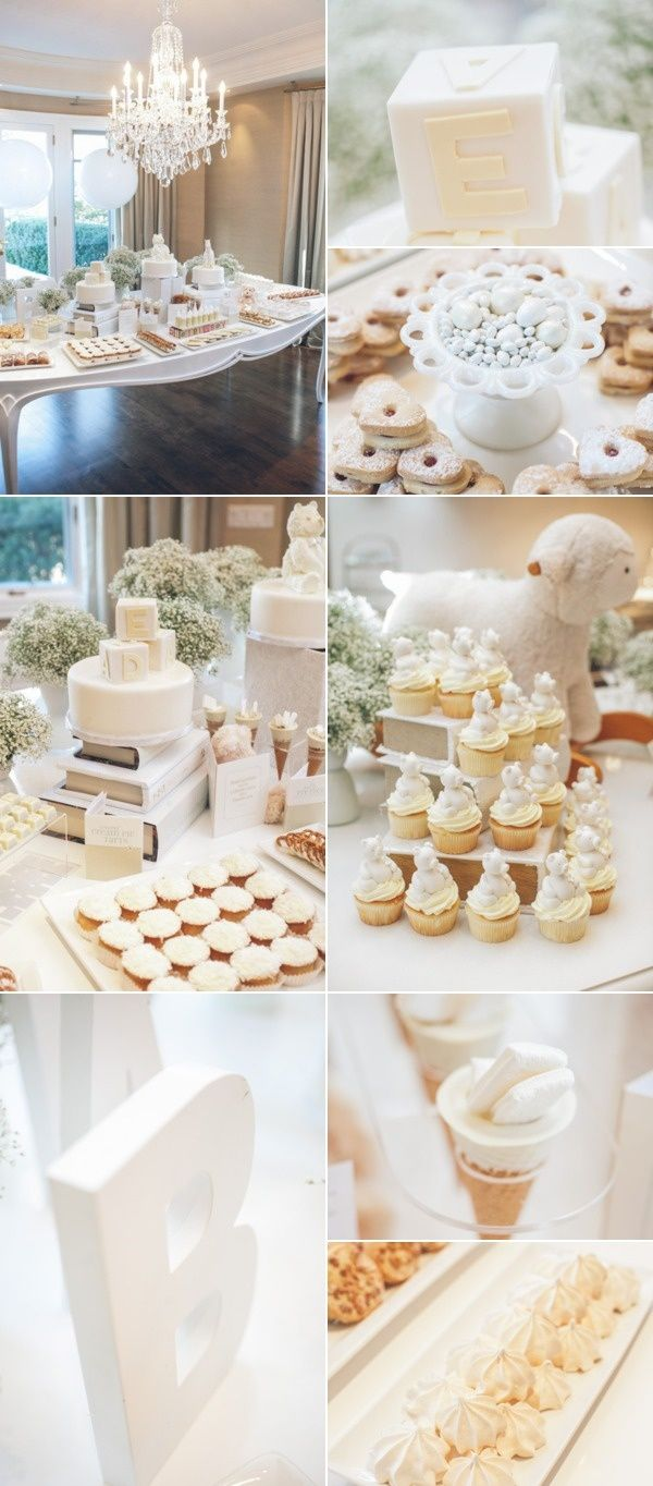 All white baby shower. So chic! Little White Book | Party ideas