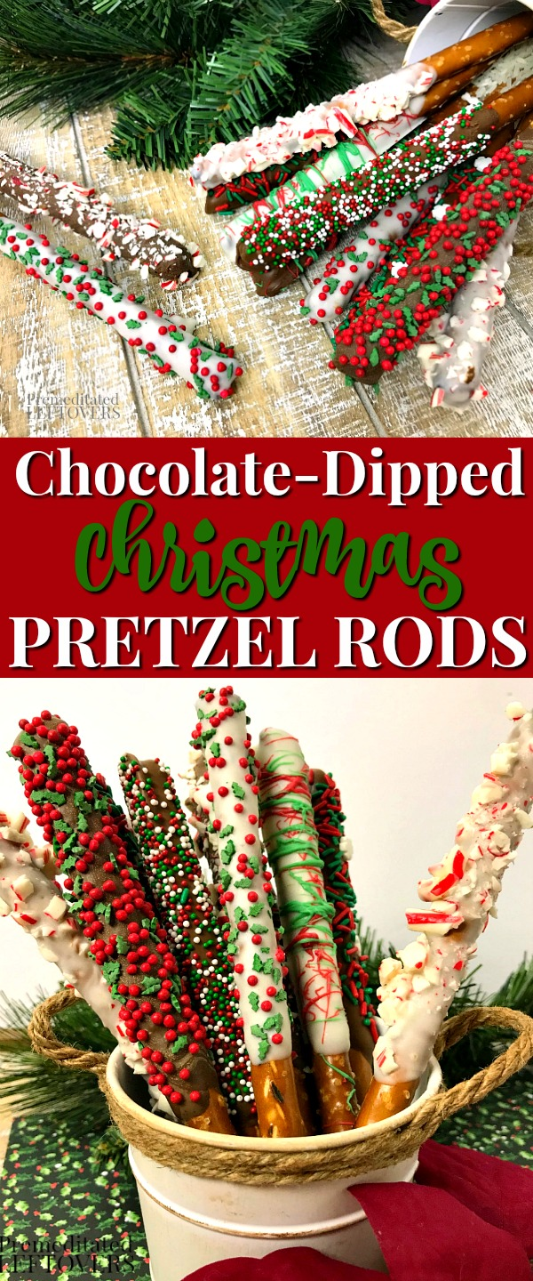 YES!!! Christmas Pretzel Rods Recipe #holidaytreats