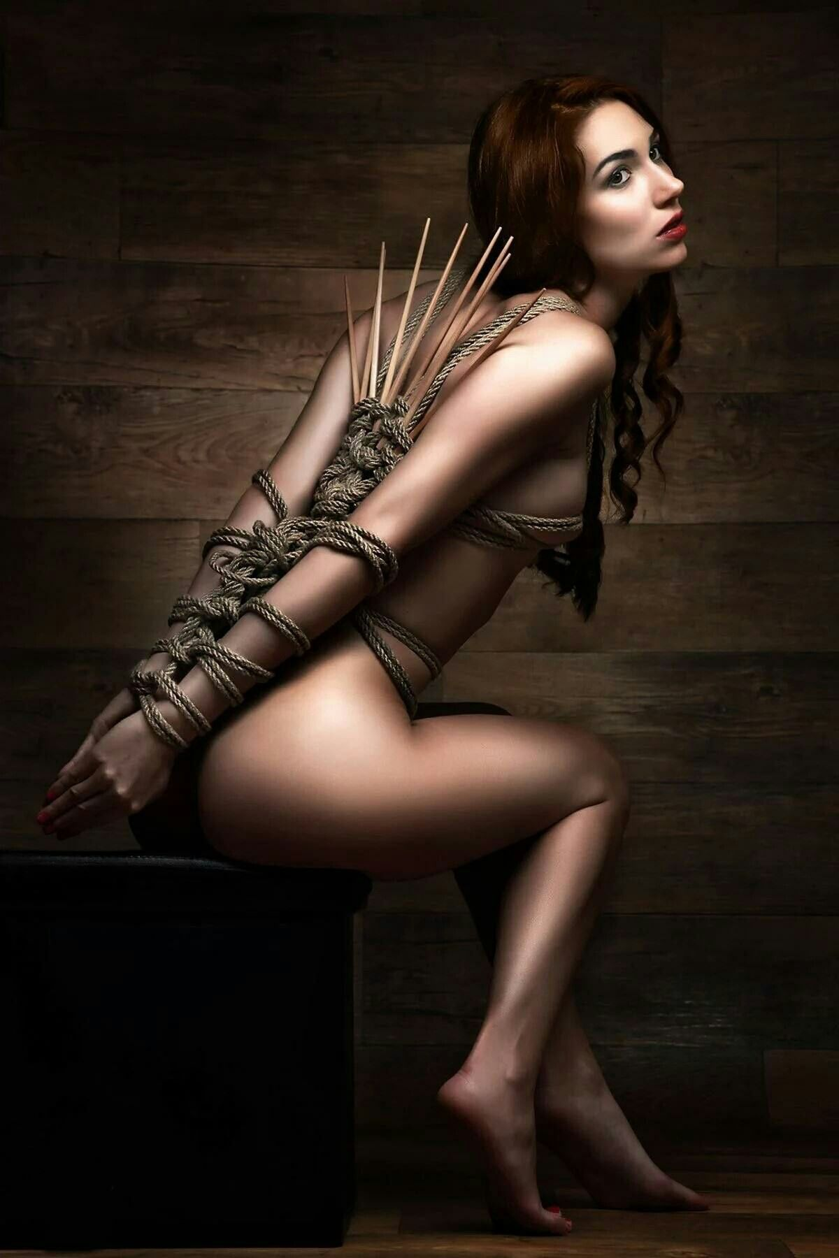tied naked Babe  Dragonfly Knot with Bamboo Sticks - Fine Art of Bondage Dragonfly knot with  Bamboo Sticks. Nude babe tied with a dragonfly knot combined with some rope  ...