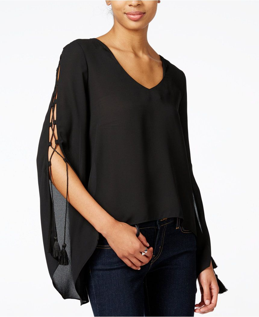 Bar Iii Tassel Laced Sleeve Blouse Only At Macy S Tops Women
