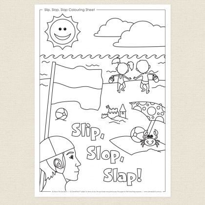 Childrens colouring in activity - Slip, Slop, Slap Colouring Sheet ...