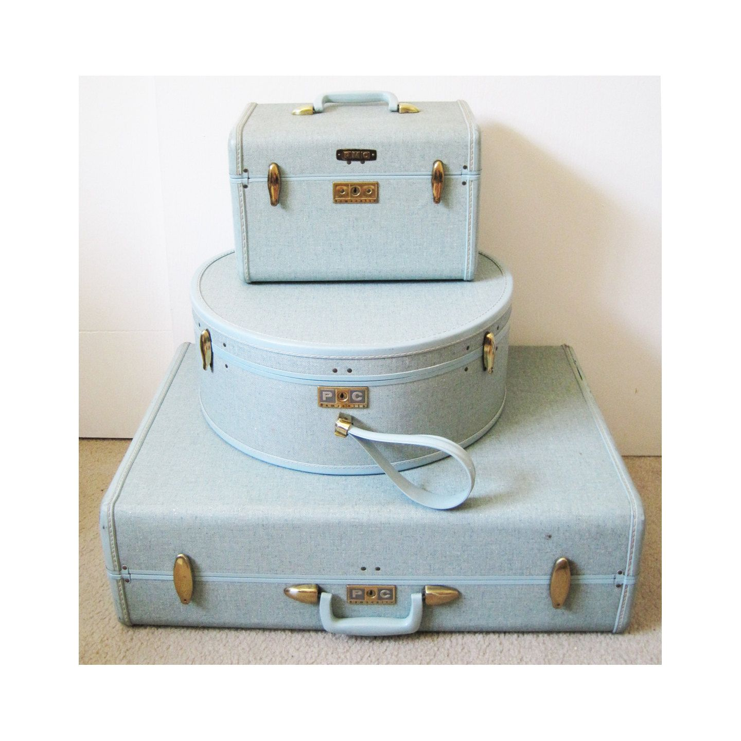 light blue 1960's vintage Samsonite luggage set suitcase hat box ...