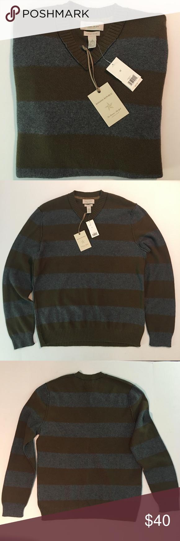 Banana Republic Mens Striped V Neck Sweater Size M Vneck Sweater Mens Stripes Neck Sweater [ 1740 x 580 Pixel ]