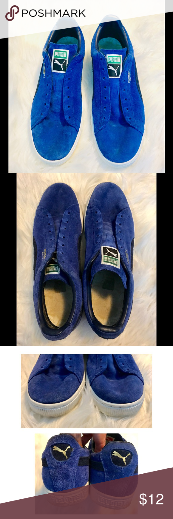 Puma Athletic Shoes Blue Suede No Laces No Rips Mild Wear No Laces Smoke Free Home Puma Shoes Athletic Shoes Blue Shoes Blue Suede Athletic Shoes