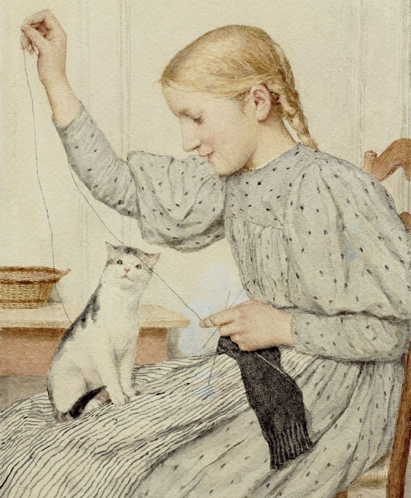 Knitting Girl and Cat by Albert Anker (Swiss, 1831-1910)