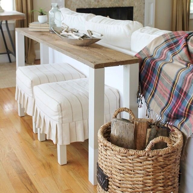 Stools Under Small Back Table Cute Decor And Added Seating If Needed Wood Sofa Table Diy Sofa Table Wood Sofa