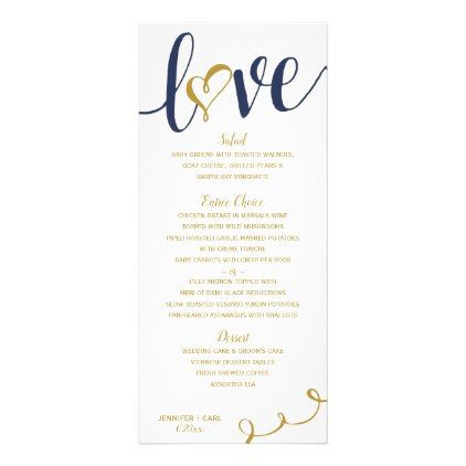 Wedding Menus Love Script (Navy \ Gold ) Wedding menu, Gold - event menu template