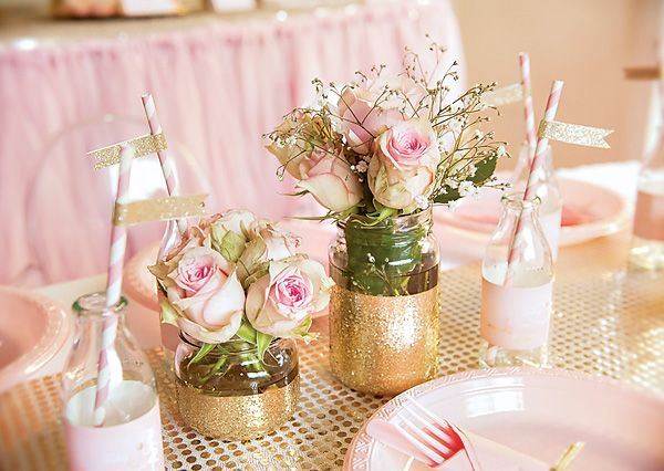 Pink glittery gold disco fairy party jars glitter