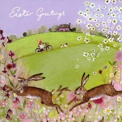 WS-WS367229F Small easter card illustrated by Lucy Grossmith with a pretty painting of a spring meadow