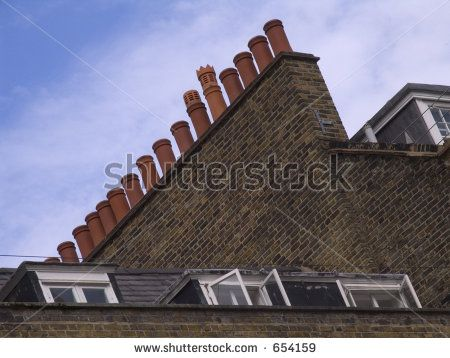 A Row Of Chimneys On A London Rooftop. Stock Photo 654159 : Shutterstock