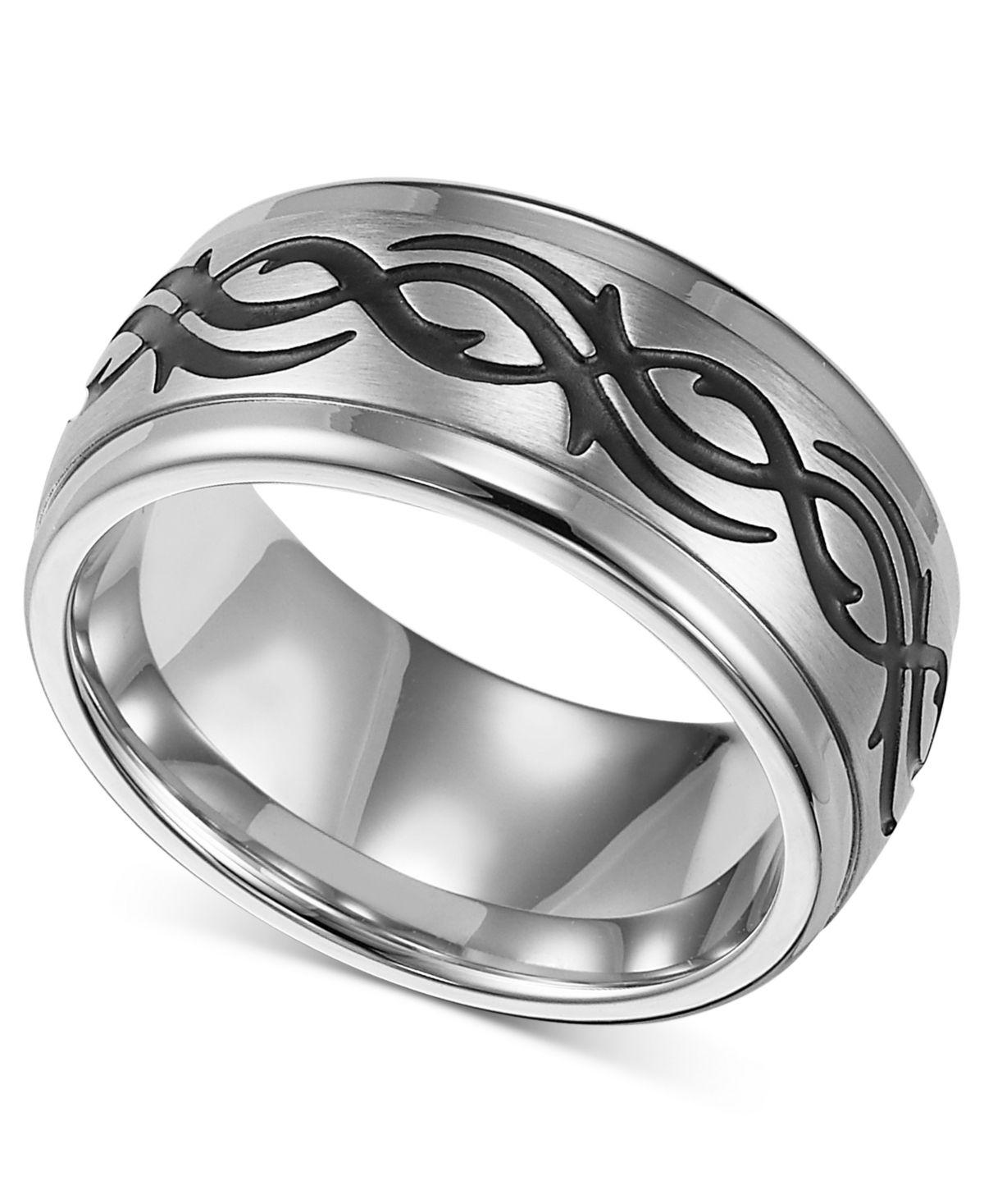 Triton Men's Stainless Steel Ring, Black Design Wedding
