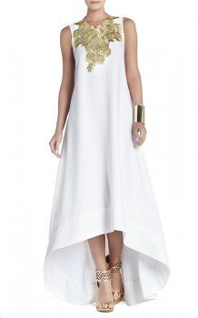 Bcbg High Low Sleeveless Louisa White Gold Evening Dress