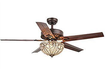 Whse of Tiffany CFL 8111 Catalina 3 Light Bronze Finished 5 Blade 48     Whse of Tiffany CFL 8111 Catalina 3 Light Bronze Finished 5 Blade 48   Crystal Ceiling Fan