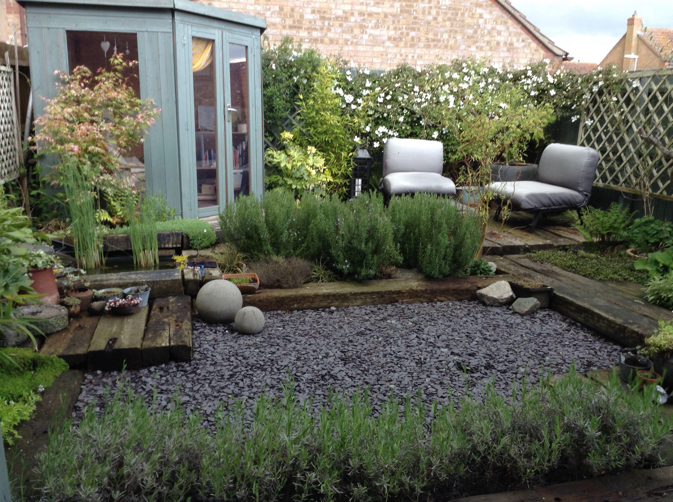 My garden, railway sleepers, slate and planting | Garden ...