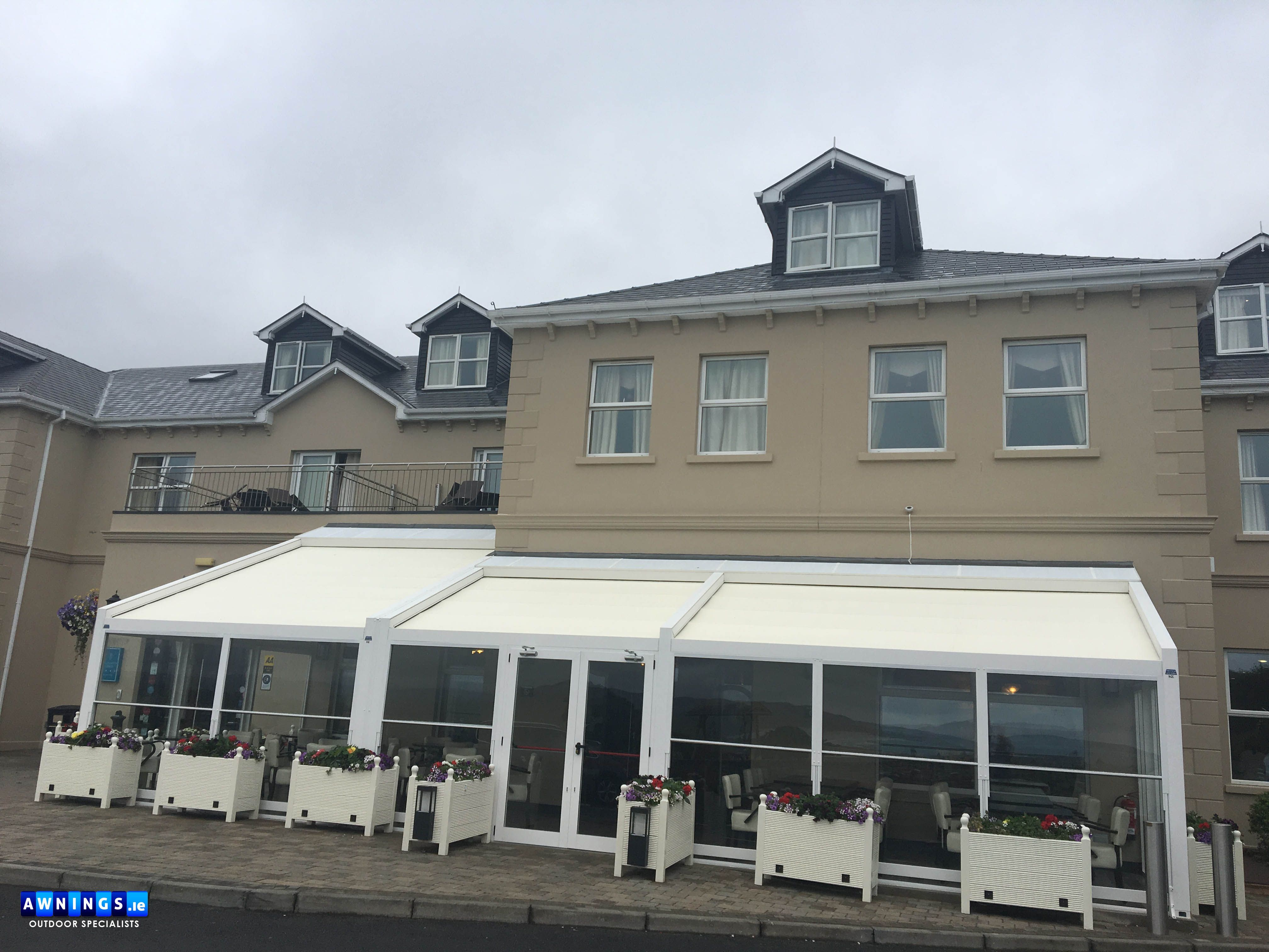 Pin By Awnings Ie Ireland On Pergolas Seating Area House Roof Pergola Shade