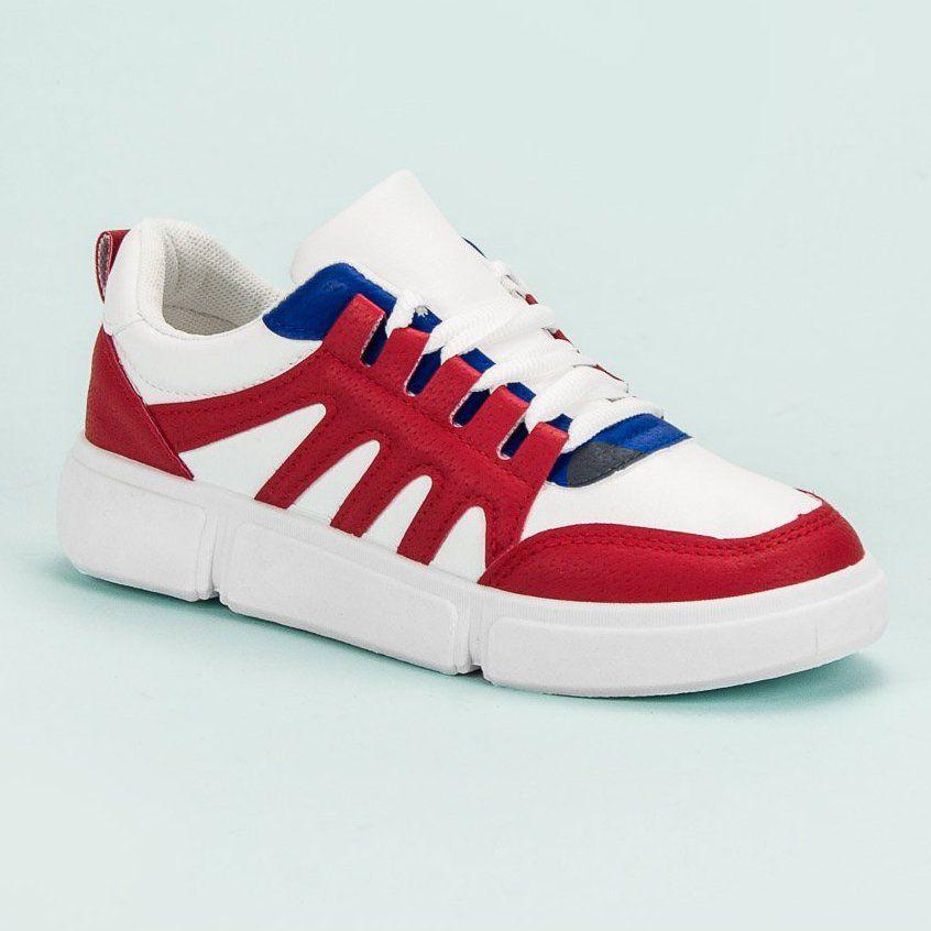 Shelovet Wygodne Obuwie Sportowe Biale Czerwone Sport Shoes Shoes Sports Footwear