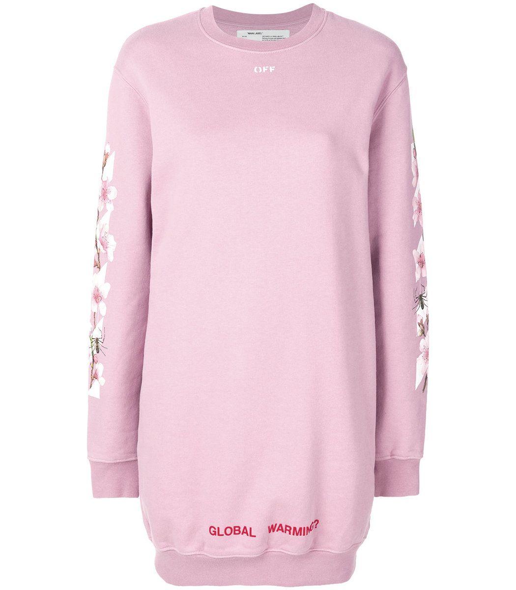 Off White Pink Cherry Flower Sweatshirt Dress Off White Cloth Long Sleeve Cotton Dress Sweatshirt Dress Pink Long Sleeve Dress [ 1200 x 1050 Pixel ]