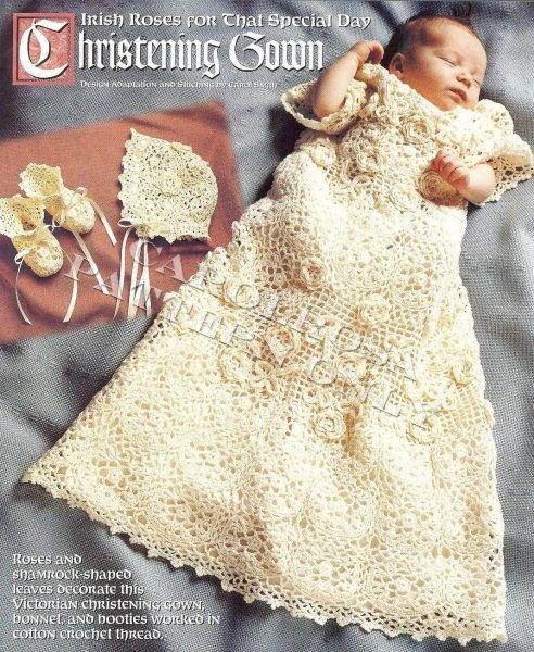 Crochet Pattern Irish Rose Christening Gown Bonnet By Carolrosa 1 75 Christening Gowns Crochet Baby Patterns Christening Set