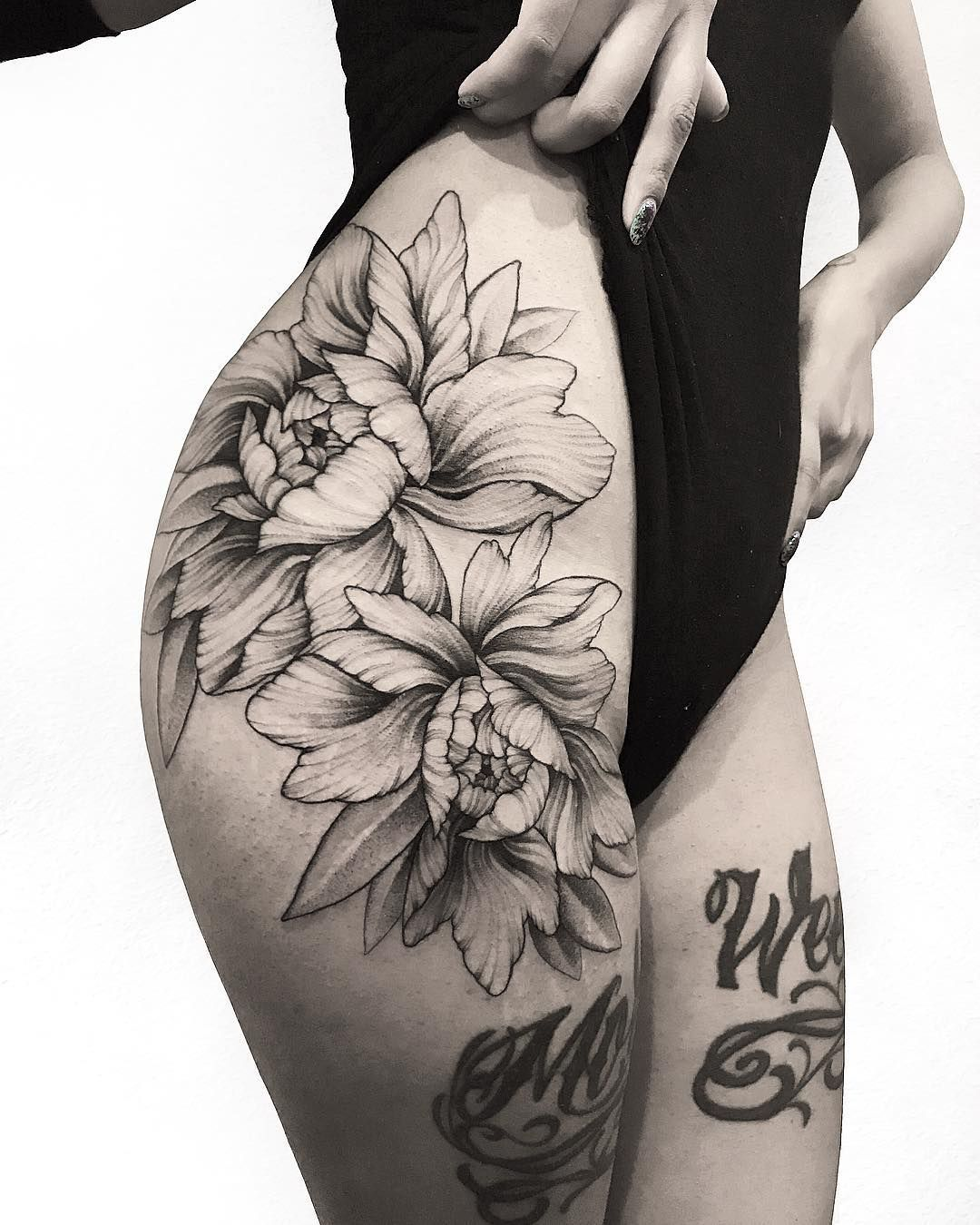 Large and beautiful peonies tattoos and art pinterest for Getting thigh tattoo