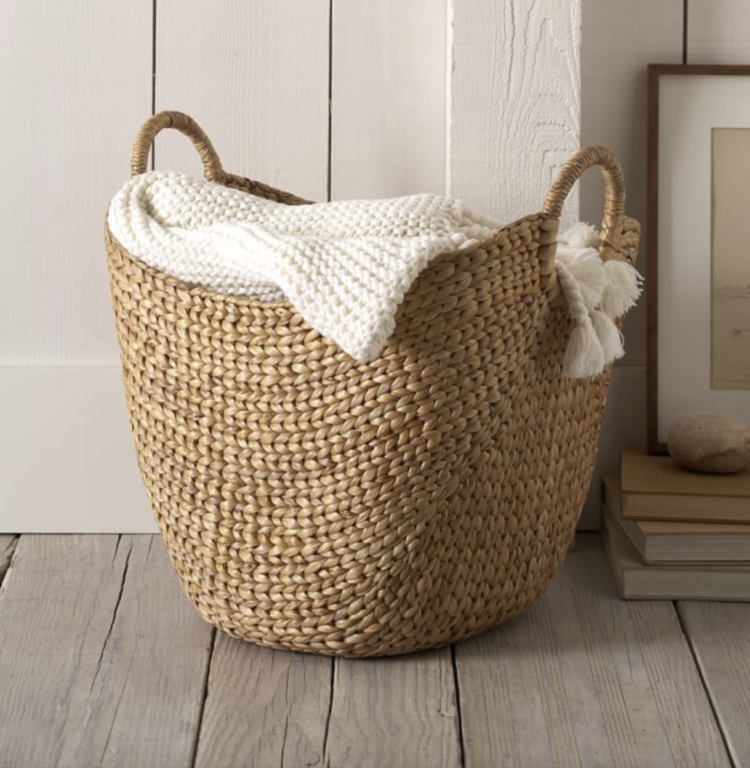 Get The Look Transitional Modern Living Room The Inspired Abode In 2020 Large Storage Baskets Blanket Storage Blanket Basket #storage #baskets #for #living #room