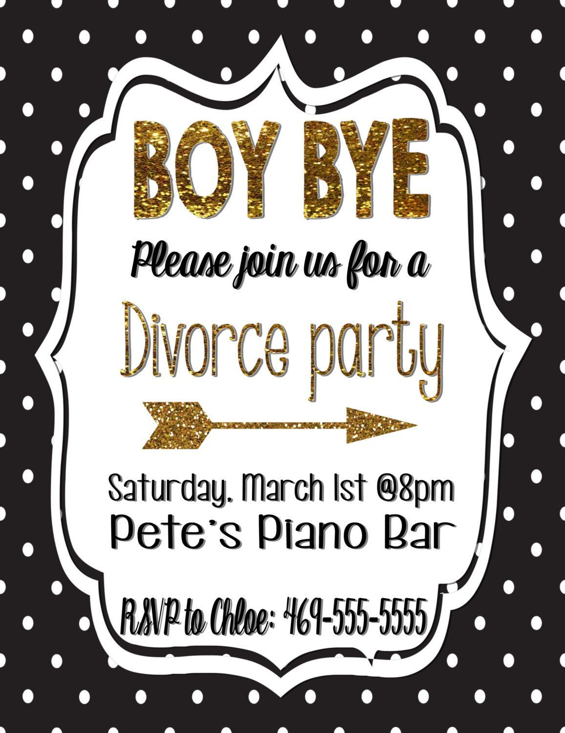 Divorce party invitation/Divorce black and gold/gold glitter/Polka ...