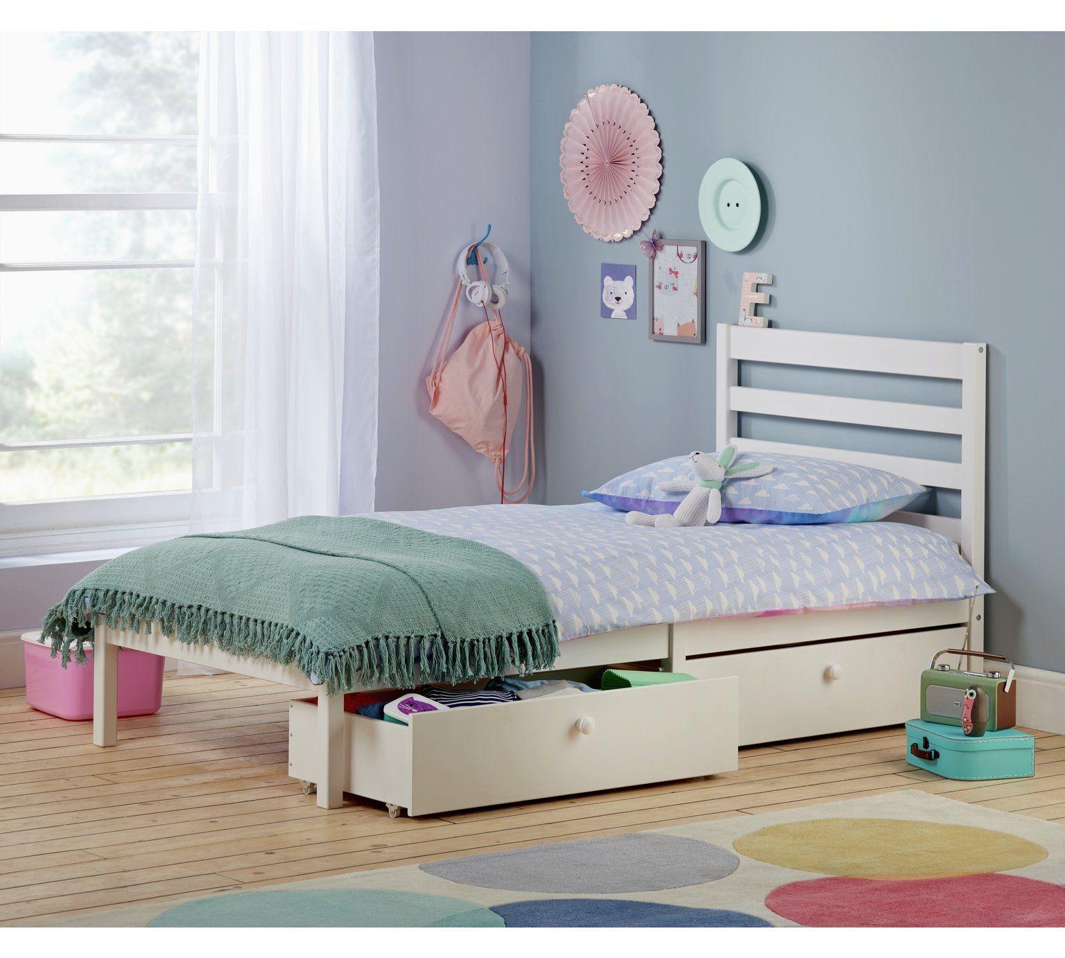 Home Kaycie White Single Bed Frame White Single Bed Frame Kid Beds Bed Frame