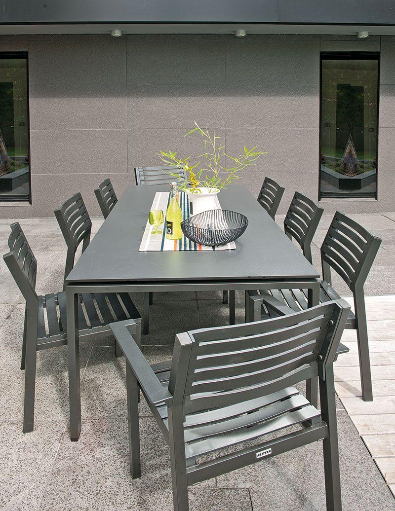 Table Hpl L180 Argent Gris Kettler Jardinerie Truffaut Table Salon De Jardin Table De Jardin Salon De Jardin Metal