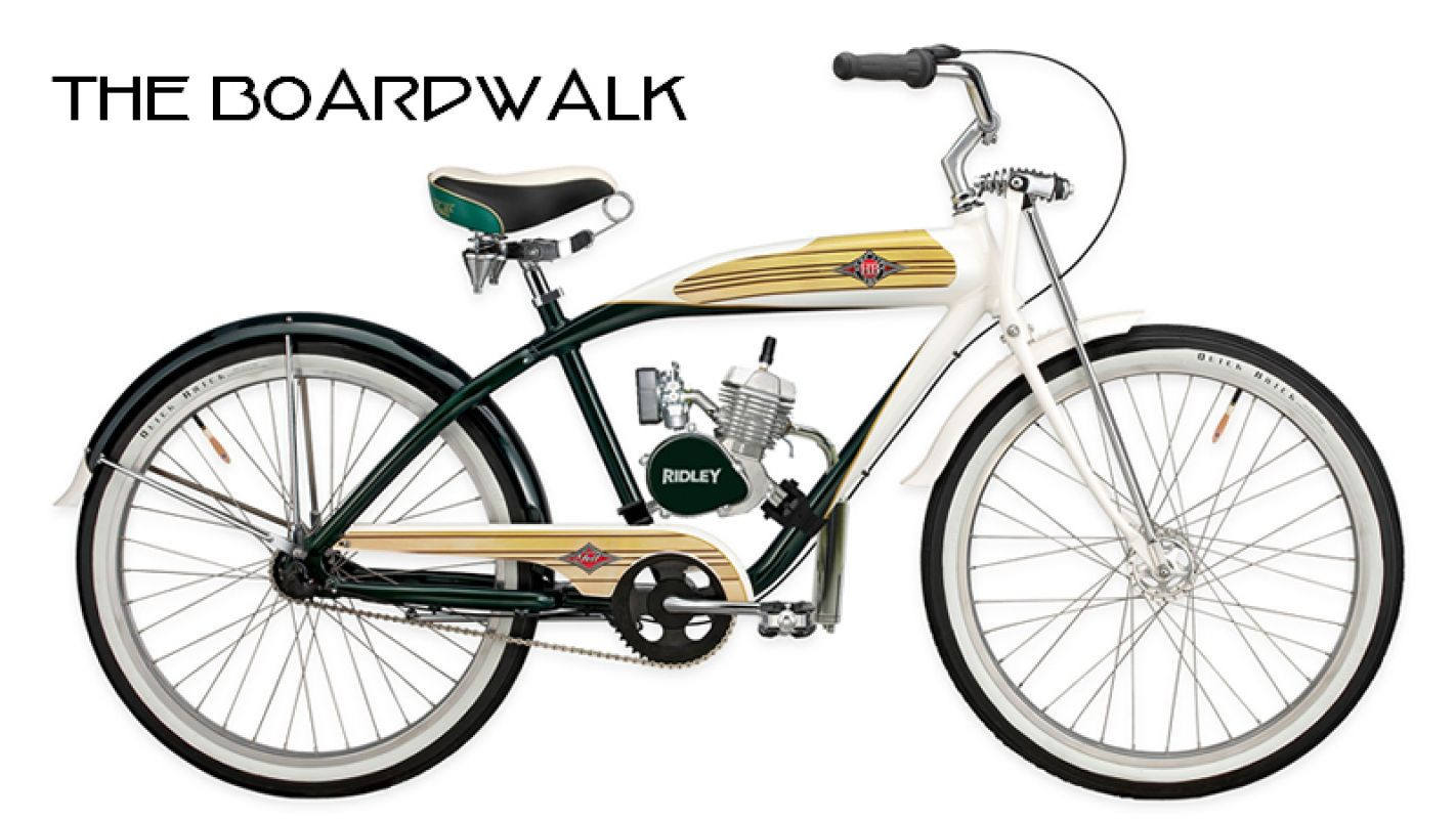 Vintage bicycle parts the boardwalk vintage motorized for Motorized bicycle repair shop
