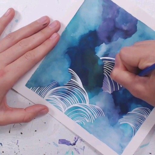 Float away in this abstract art using calming blue and purple watercolor inks and pen white technical ink.