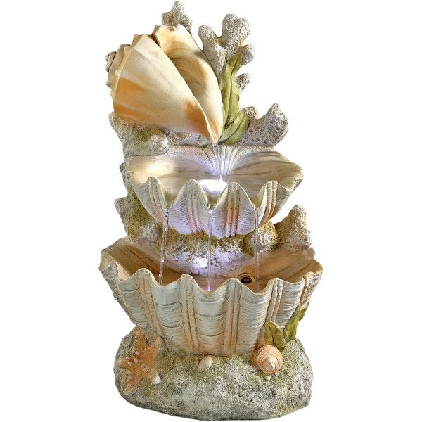 Resin Oceanu0027s Bounty Cascading Shell Garden Fountain Reviews ❤ Liked On  Polyvore Featuring Home, Outdoors
