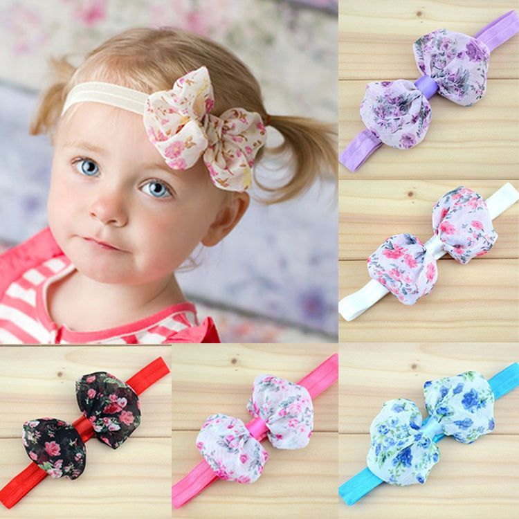 1.19AUD - Baby Kids Girl Children Lace Print Floral Bow Headband Bowknot  Flowers Hair Band  ebay  Home   Garden 2e812842a50