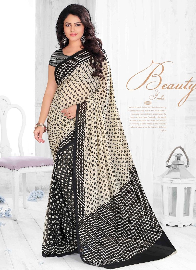 Be an angel and create and establish a smashing impression on everyone by wearing this black georgette casual saree. The print work looks chic and aspiration for any get together. Comes with matching ...