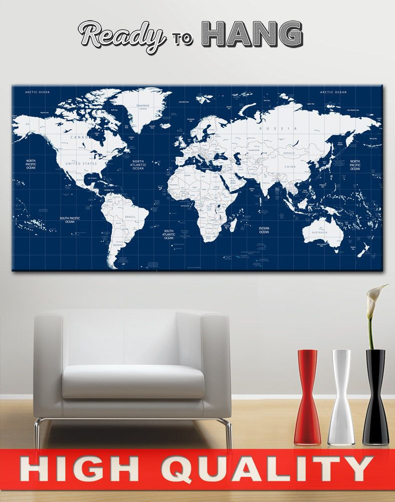 Large world map canvas print wall art world map wall decor office large world map canvas print wall art world map wall decor office gumiabroncs Image collections