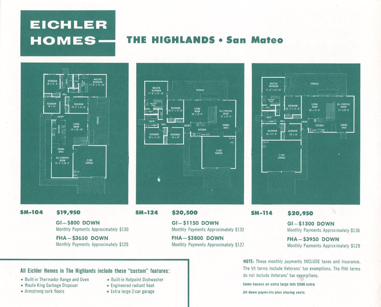 Floor Plans For Three Eichler Homes Eichler Homes