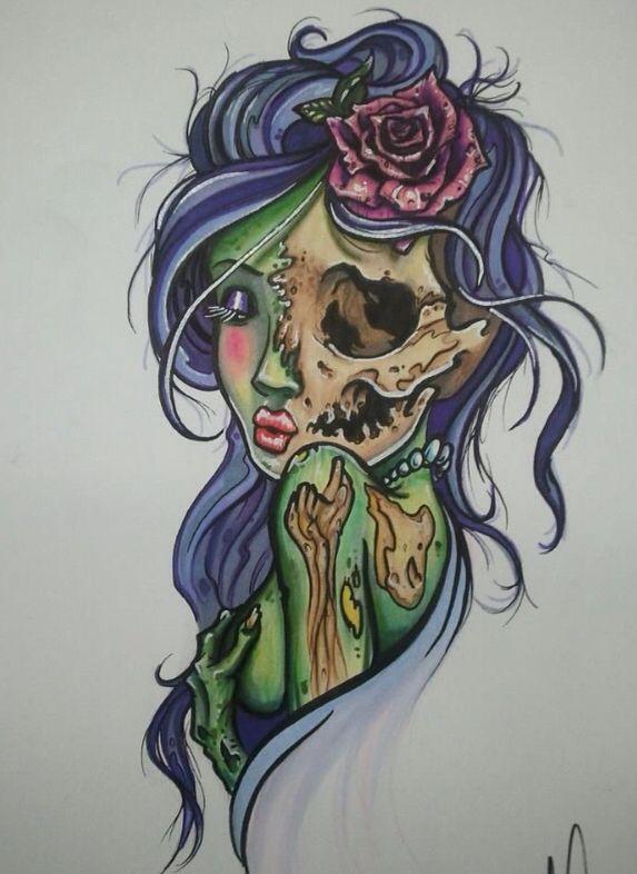 My Fave Art Zombie Tattoos Tattoos Zombie Girl Tattoos