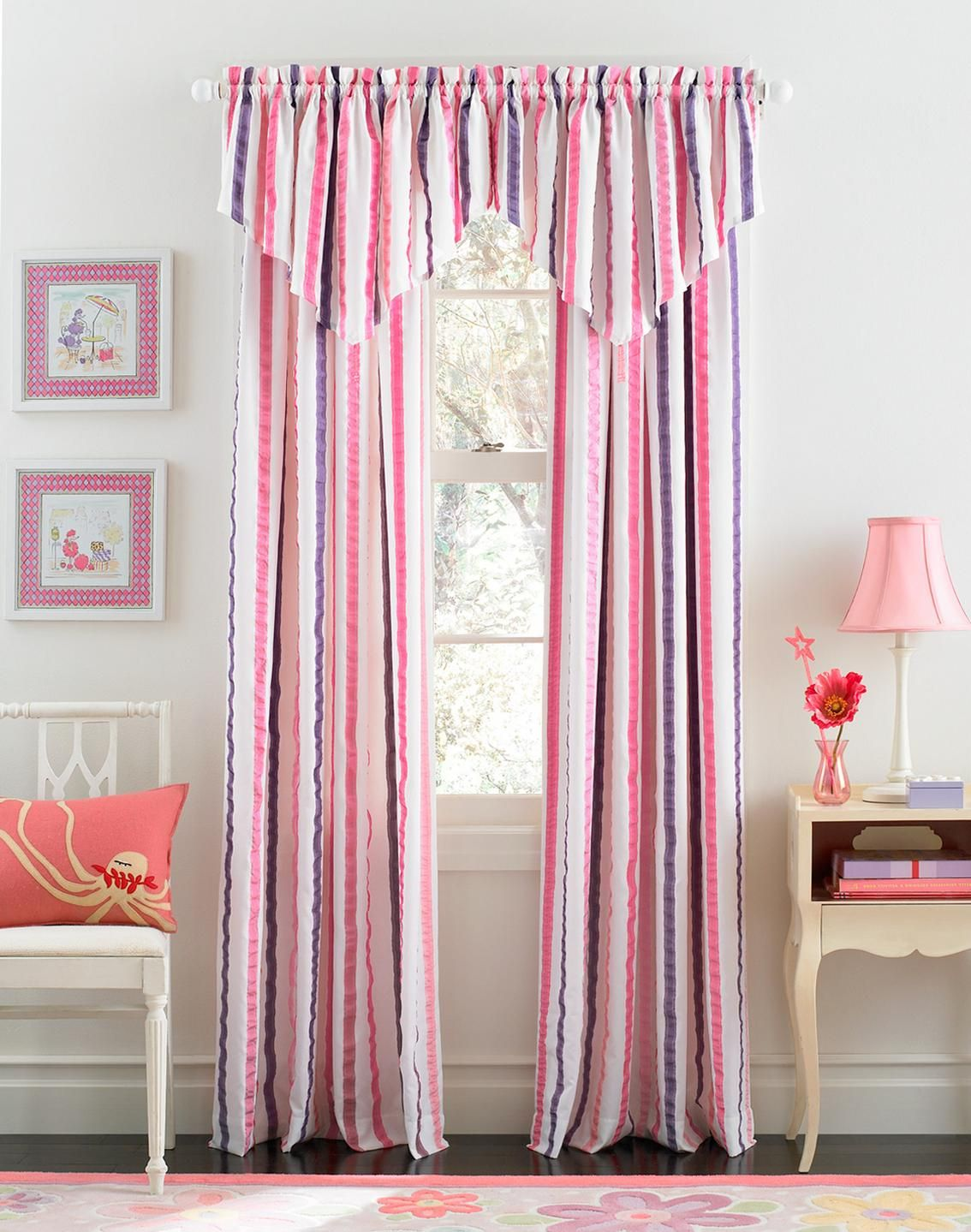 Sweet Bedroom Designs With Pink Curtain For Girls Fetching White Purple