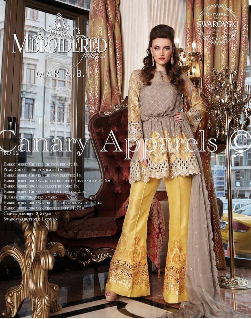 Mehndi Dresses By Maria B : Maria b chiffon replica yellow mehndi dress indian