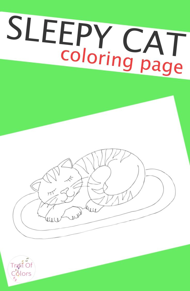 Sleepy Cat Coloring Page | Sleepy cat, Cat and Craft activities