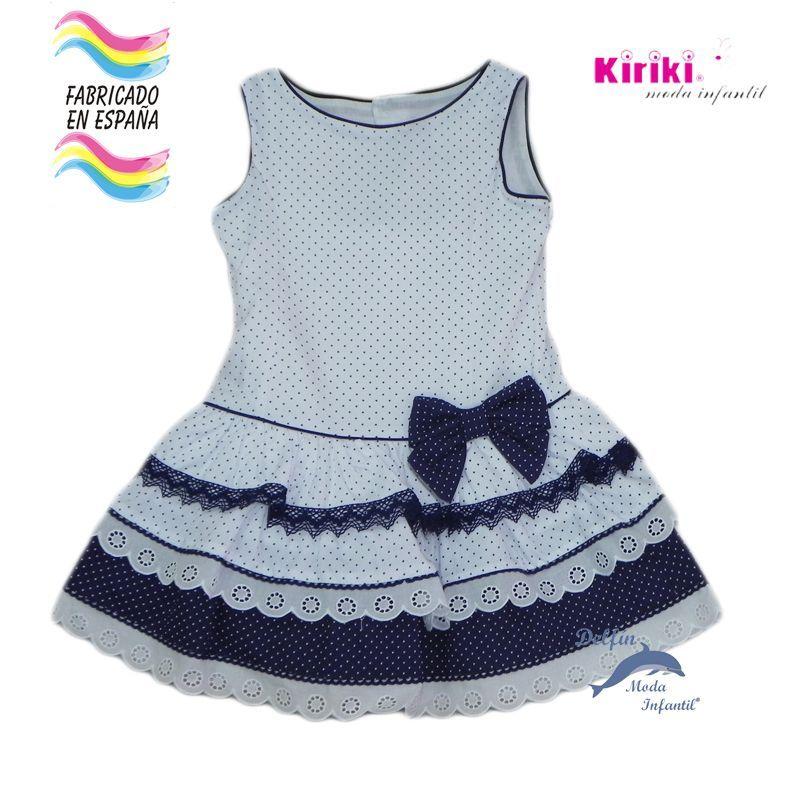 Vestido niña KIRIKI marinero pique talle bajo
