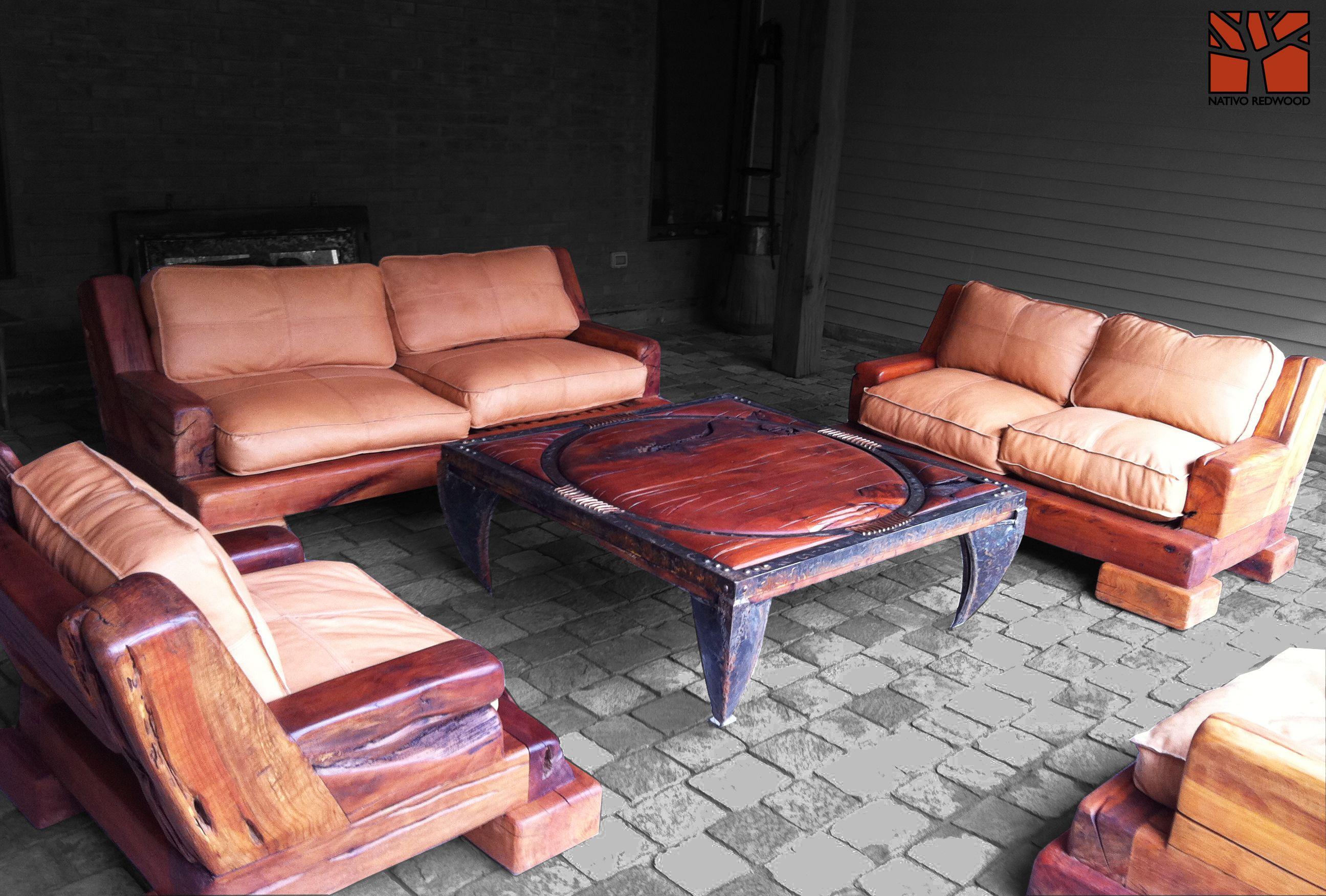 Nativo Redwood Sill N Simple De Roble R Stico Con Cojines De  # Muebles Lara Paterna