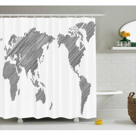 World Map Shower Curtain, Sketchy Striped Continents ...