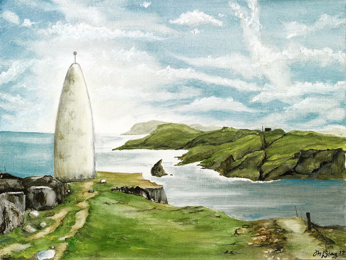 LARGE Ireland Landscape Painting the Beacon of Baltimore