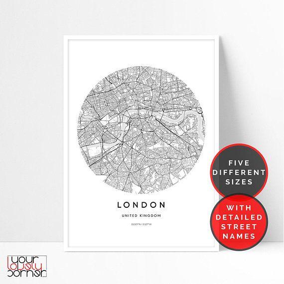 photograph about Circle Map Printable titled London Map Print, London Metropolis Map Printable Wall Artwork, Circle