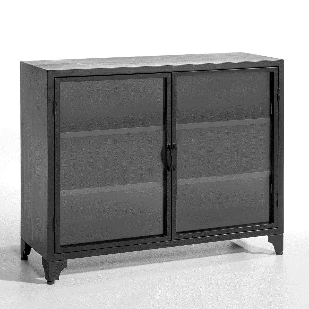 meuble bas kargo m tal portes vitr es achat meuble la. Black Bedroom Furniture Sets. Home Design Ideas