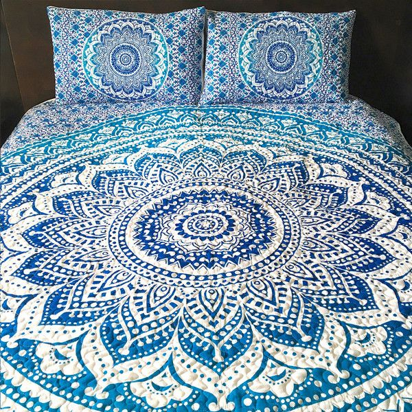 Blue Ombre Mandala Tapestry Quilt Boho Quilt Hippie Quilt Indian Style... ($89) ❤ liked on Polyvore featuring home, bed & bath, bedding, quilts, blankets & throws, grey and home & living