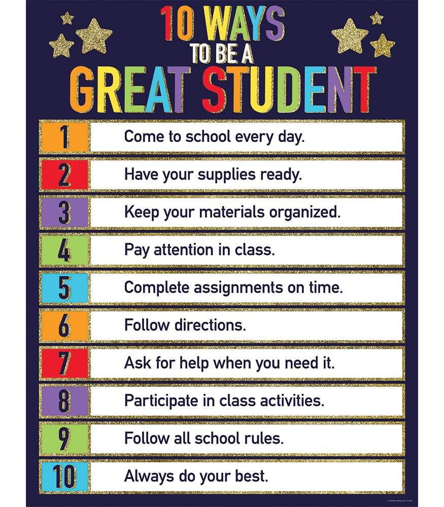 Glitter 10 Ways to Be a Great Student Chart | Student ...