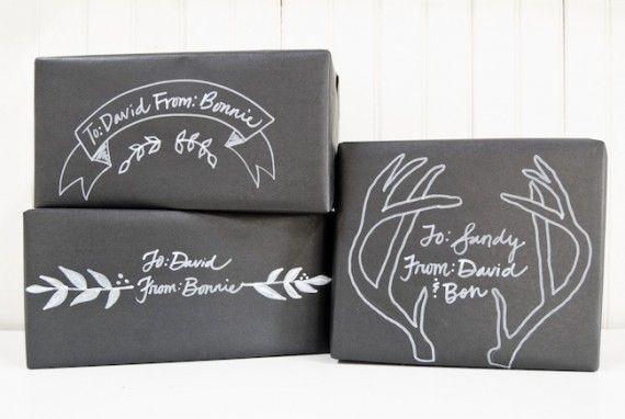 Christmas chalkboard gift wrap idea.
